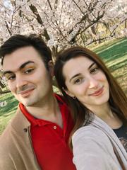 Happy Couple Taking A Selfie In Spring Season