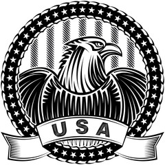The American Eagle with stars and stripes as a symbol of the Independence Day of the US on 4th July; Vector hand drawing tattoo or print in vintage monochrome ink style