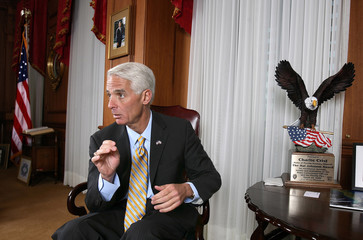 Florida Governor Charlie Crist in his office at the Florida State Capitol in Tallahassee