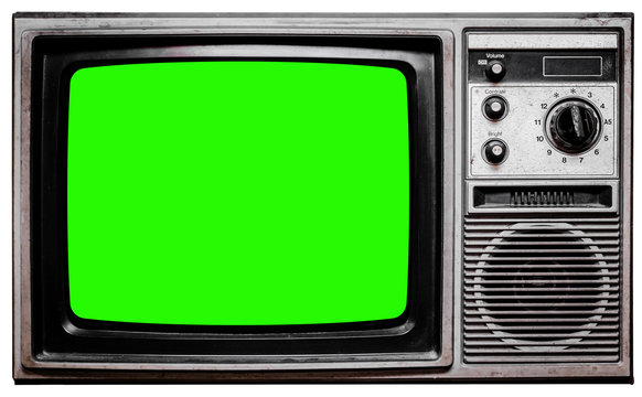 Vintage TV Screen Clipping path no Background