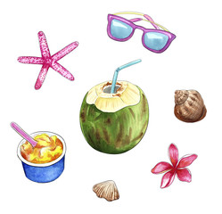 travel objects, summer vacation beach stuff: coconut, sunglasses, ice-cream, plumeria flower, shells
