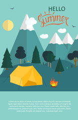 Summer Camping Nature Background in Modern Flat Style with Sampl