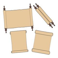 2d cartoon illustration of scrolls