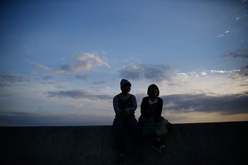 young attractive couple silhouette