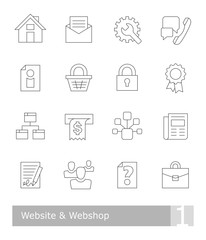 Vector icons set for website and webshop; black thin outlines