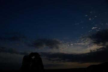 Sunset, silhouette, couple, sky