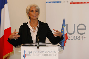 France's Economy Minister Christine Lagarde speaks during a news conference in Paris