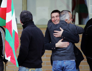 Leader of outlawed Basque separatist party Batasuna Otegi leaves high security prison outside Madrid