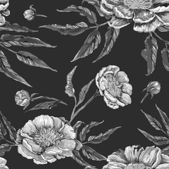 Floral hand drawn vintage seamless pattern with flower peony. Black and white monochrome vector background perfect for paper design, fabrics, textile or tissue. Fashion and trendy graphic image.