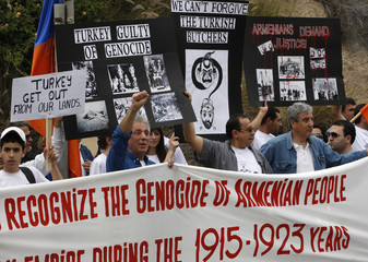 Israeli Armenians demonstrate against the killing of Armenians by Ottoman Turks in 1915, in Tel Aviv