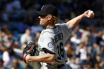 Seattle Mariners pitcher Weaver delivers a pitch in the first inning of their American League baseball game against the New York Yankees in New York