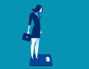 Businesswoman standing on the scale. Concept business illustration.