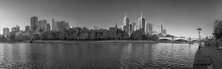 MELBOURNE, AUSTRALIA - NOVEMBER 20, 2015: Panoramic view of city skyline. Melbourne is the main city in Victoria state