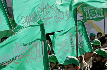 Palestinian Hamas supporters attend pre-election rally in Biddu