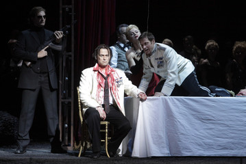 Singers Keenlyside, Sunnegardh and Kocan perform on stage at Vienna's State Opera