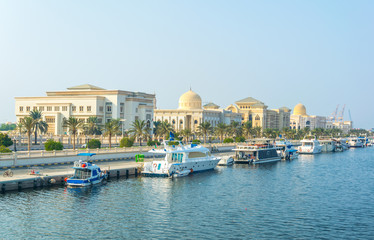 View of an administrative district of the Sharjah emirate, UAE