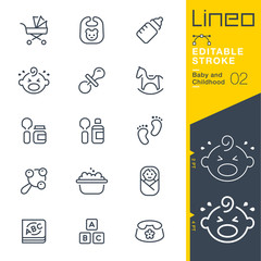 Lineo Editable Stroke - Baby and Childhood outline icons. Vector Icons - Adjust stroke weight - Expand to any size - Change to any colour.