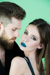 fashion couple in black, woman and man
