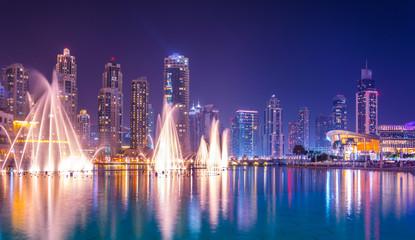 Aluminium Prints Dubai The Burj Khalifa lake with dancing fountain of Dubai, UAE