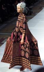 A model for Japanese designer Naoki Takizawa for fashion house Issey Miyake presents this geometric ..