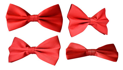 Red bow-tie for a coat, bow, butterfly on a white background, different angles