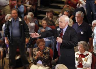 Republican presidential candidate U.S. Senator McCain speaks to supporters in Sun City