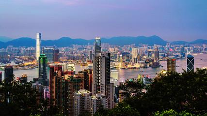 Hong Kong at night. Skyline of Hong Kong at sunset