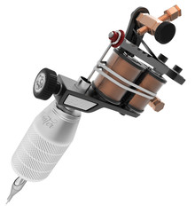 Metallic black tattoo machine with copper detail and big grey grip