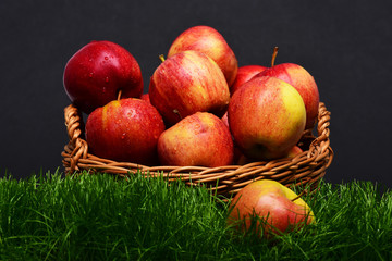 apple on grass background, food, health and nature