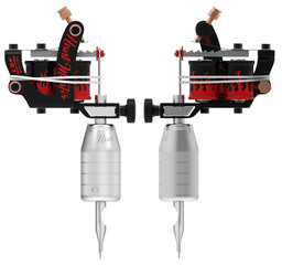 Metallic silver tattoo machine with red fire set