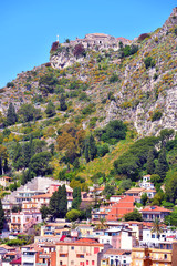 The castle of Monte Tauro Taormina Castelmola and sanctuary Madonna of the fort
