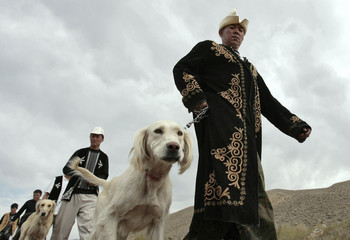 Kyrgyz men arrive at a hunting festival with their Taigan dogs near the village of Bokonbayevo