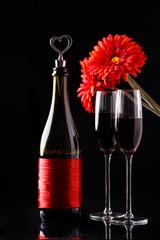 Bottle of wine, two wineglasses