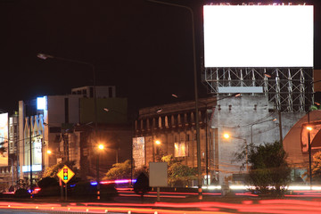 Blank billboard at night time for advertisement city street night light