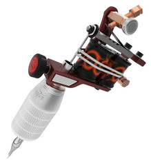 Metallic red tattoo machine with ornament and grip