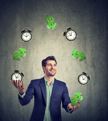 Time is money. Businessman juggling dollar signs and alarm clock
