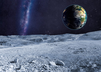 Planet Earth and distant galaxy from the moon surface