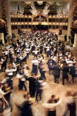 DANCERS WALTZ DURING A OPERA BALL DRESS REHEARSAL IN VIENNA.