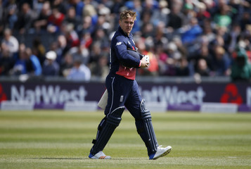 England's Jason Roy looks dejected after losing his wicket