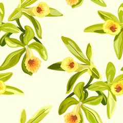 Vanilla flowers seamless texture