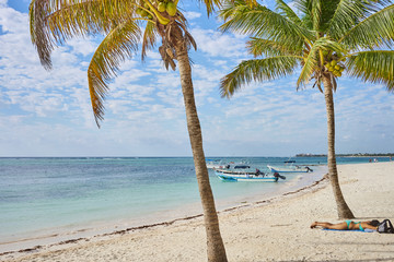 "So called ""Turtle Beach Akumal"" in Mexico / Caribbean vacation at mexican tropical Beach in Quintana Roo"