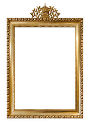Golden picture frame isolated white background Vintage object
