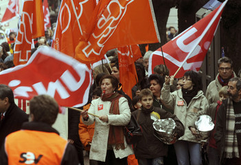 Workers of the Swiss Federal Railways SBB protest after the announcement of job cuts in Bellinzona