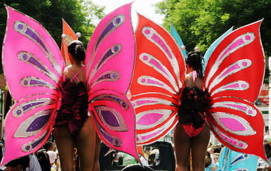 Two butterfly ladies show off their colourful costumes at the Dutch Carribean carnival parade ...