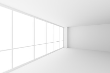 Empty white business office room corner with large windows, wide angle