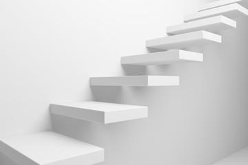 White ascending stairs closeup view Fototapete