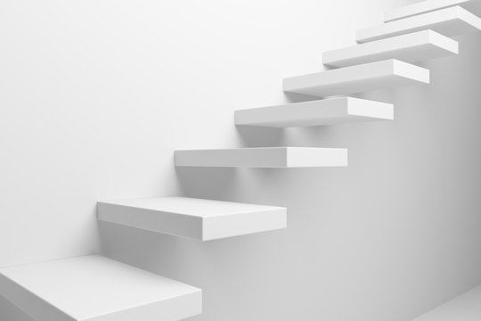 White ascending stairs closeup view