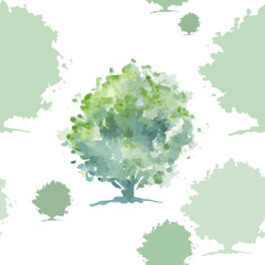Green tree seamless pattern