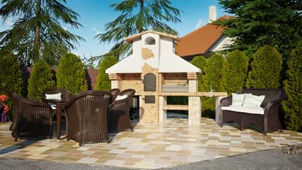 Barbecue gazebo luxury family house