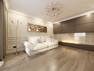 Modern Classic Beige Living Room Interior Design